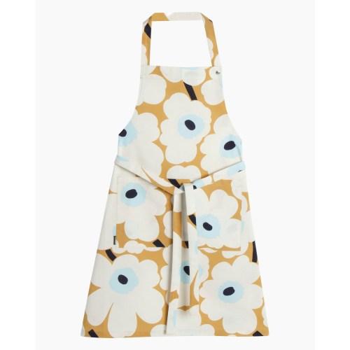 Pieni Unikko apron beige, off white, blue