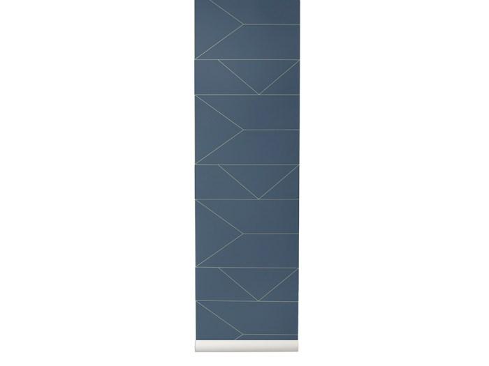 Ferm Living Behang Lines Dark Blue