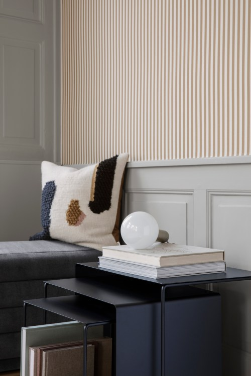 Ferm Living Behang Thin Lines Grey/Off-white