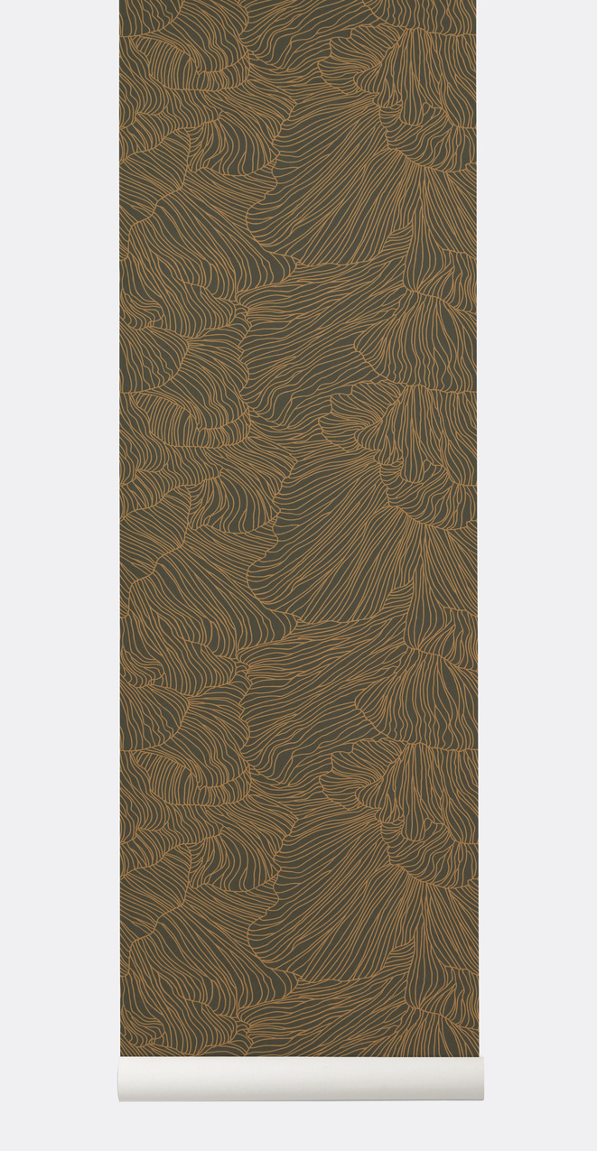 Ferm Living Coral Behang Dark Green/Gold