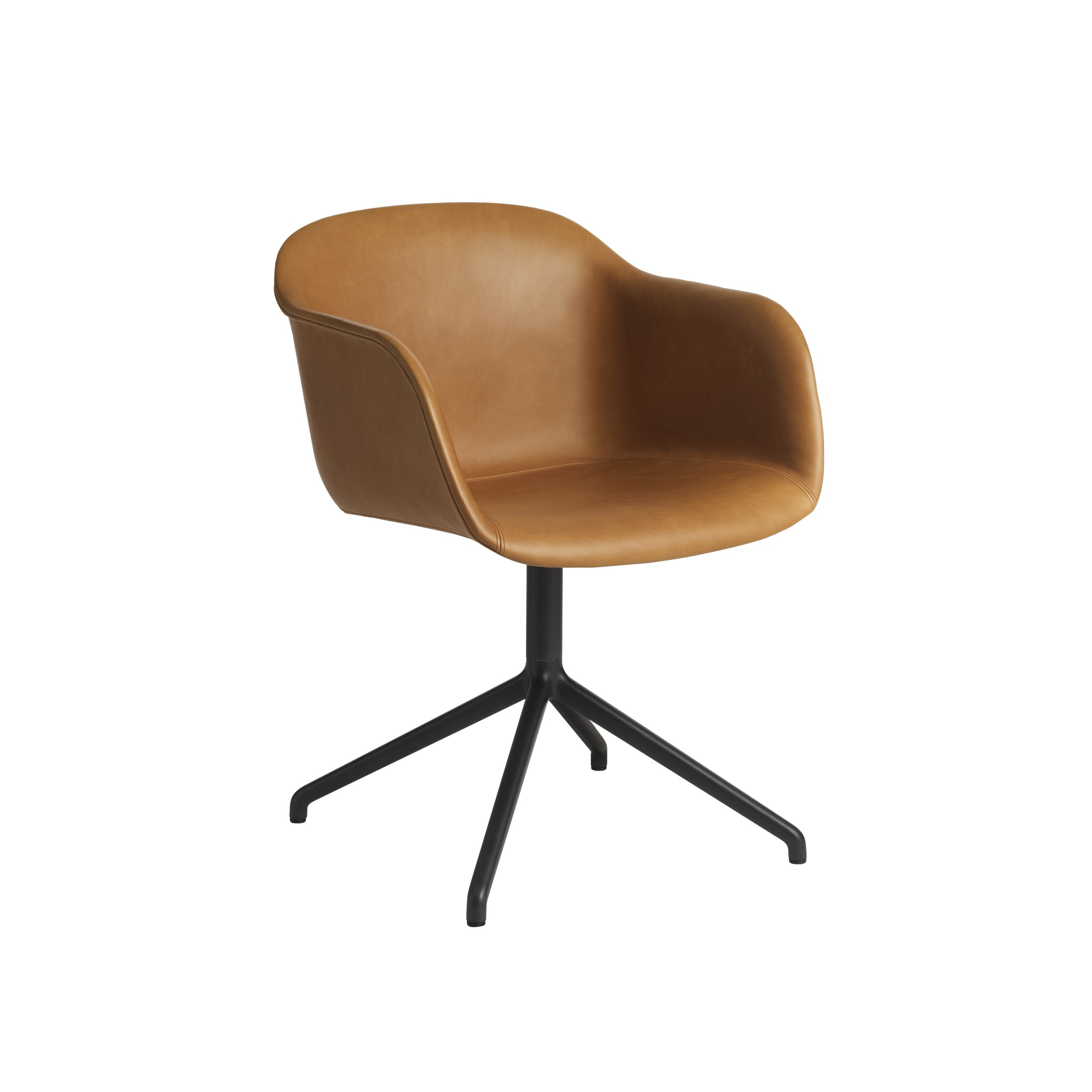 Muuto Fiber Armchair Swivel Base (wo return) Refine Leather Cognac/Black