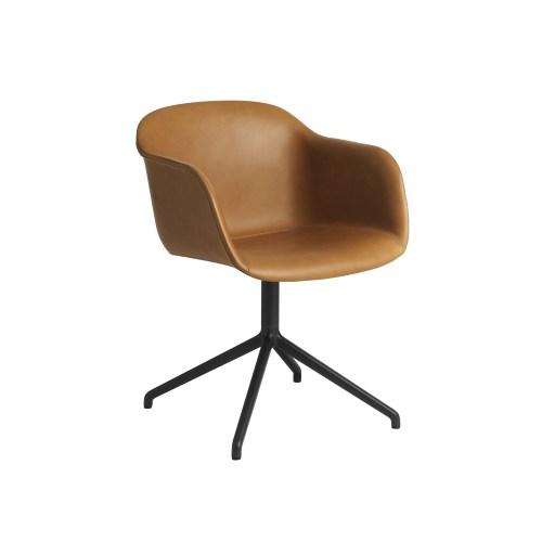 Muuto Fiber Armchair Swivel Base (wo return) Refine Leather Cognac/Black