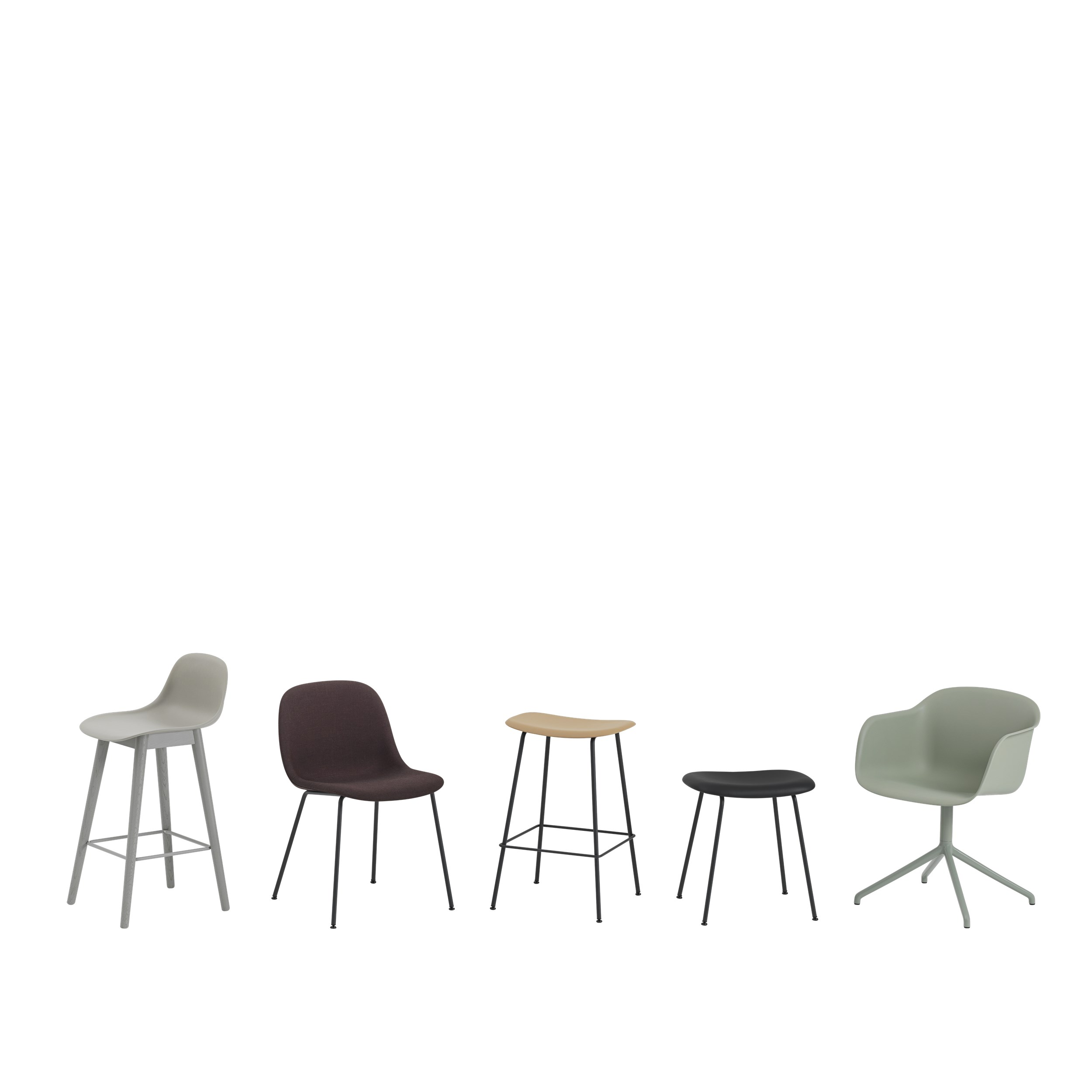 Muuto Fiber Side Chair Wood Base Black/Black