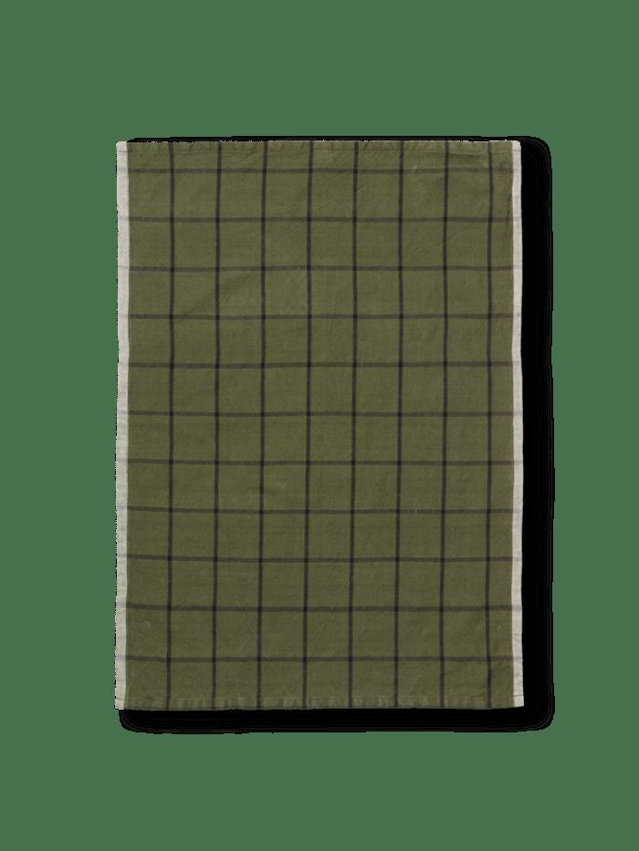 Hale yarn dyed linen tea towel green