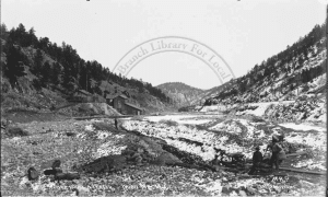 Fig 2. Placer mining along Fourmile Canyon near the Wood Mtn. mine (c. 1910) sample sit