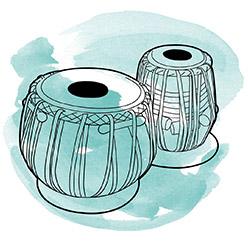 Drawing of tabla with blue swirl