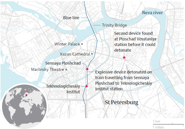 τρομοκρατική επίθεση στην Αγία Πετρούπολη. Πηγή Guardian