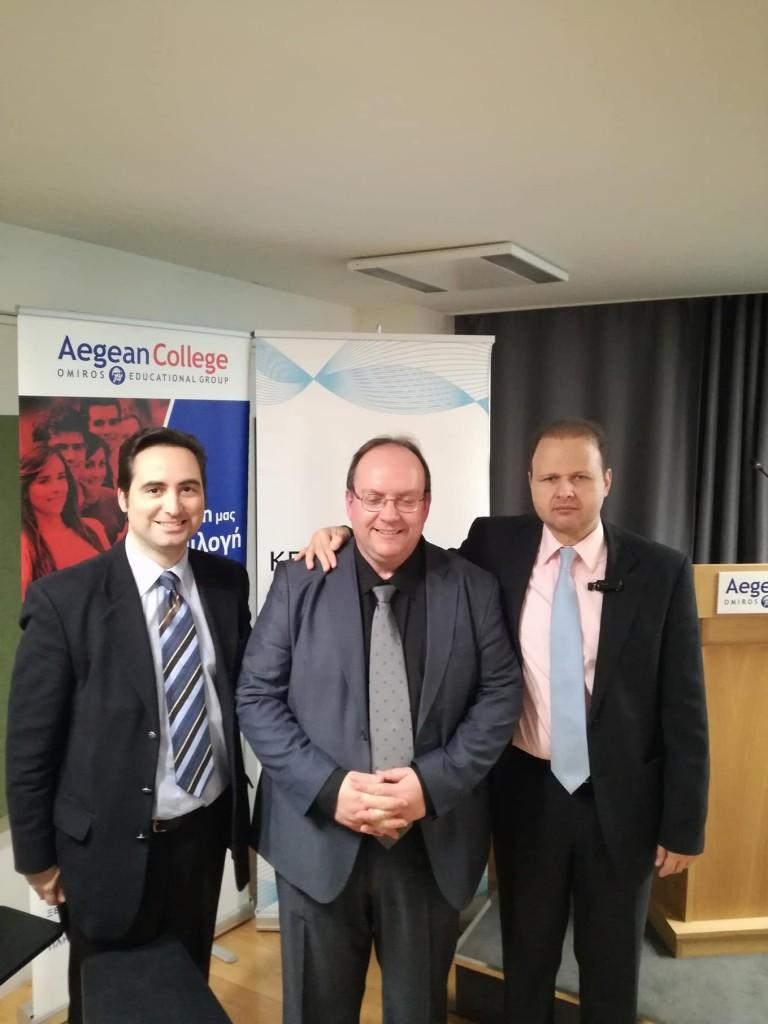 Από αριστερά προς τα δεξιά: Ο Ιδρυτής & Πρόεδρος Δ.Σ. του ΚΕΔΙΣΑ, Ανδρέας Γ.Μπανούτσος, ο εισηγητής του εκπαιδευτικού σεμιναρίου, Δρ. Ηλίας Ηλιόπουλος και ο εκτελεστικός Διευθυντής Δ.Σ. του ΚΕΔΙΣΑ, Γιώργος Πρωτόπαπας.