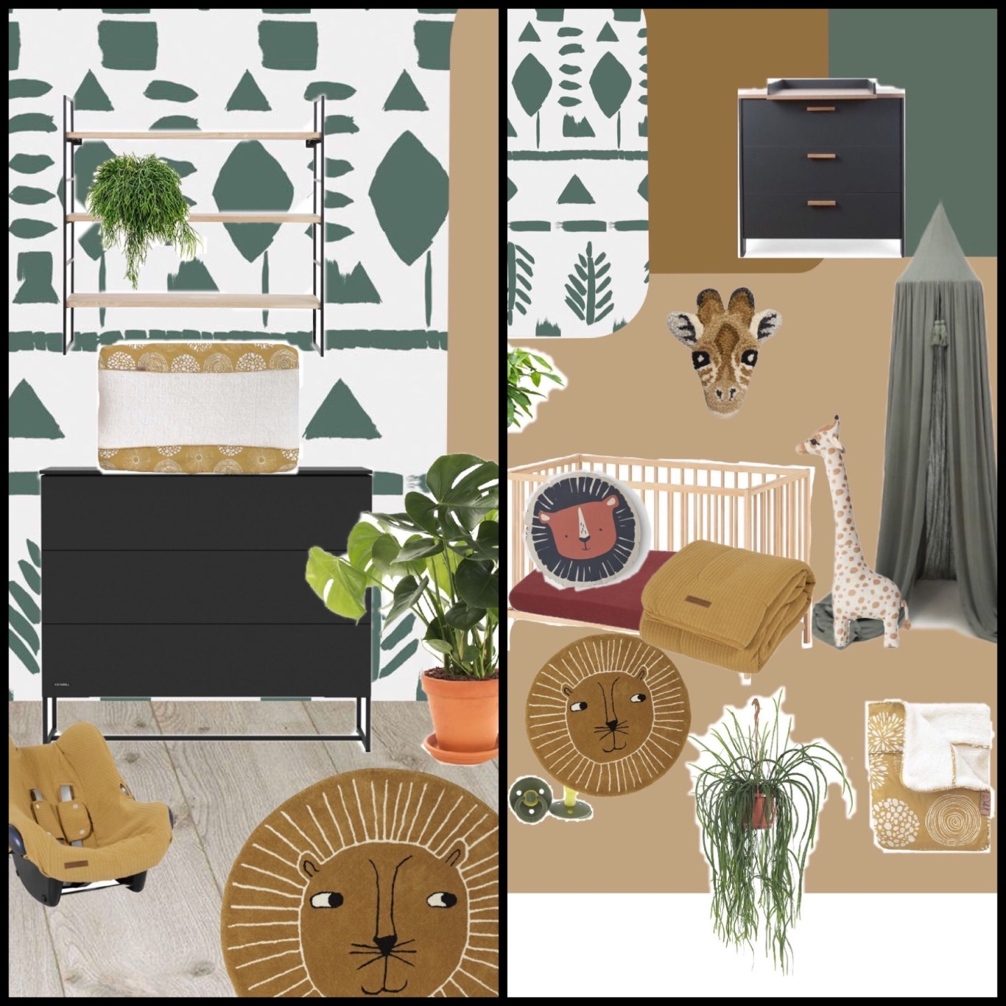 keeelly91 moodboard babykamer nursery kids room kinderkamer jungle theme roomblush