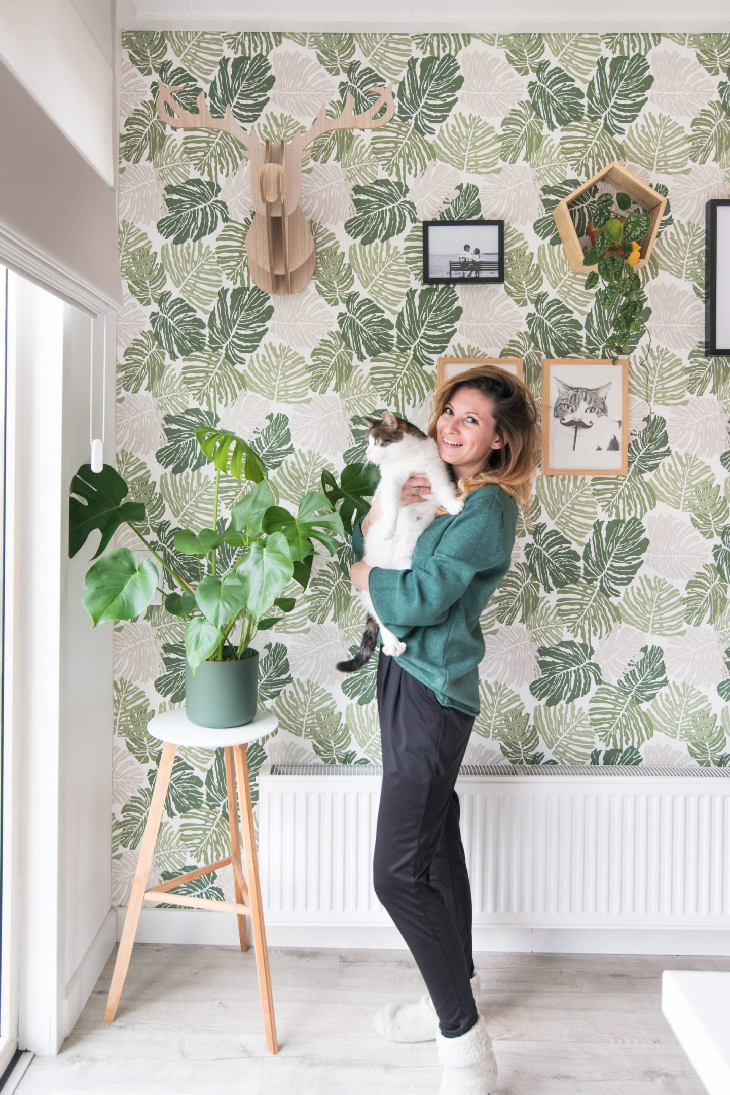 keeelly91 plantenbehang plantlover urbanjungle interieurinspiratie interieur wooninspiratie groen wit catlover blogger