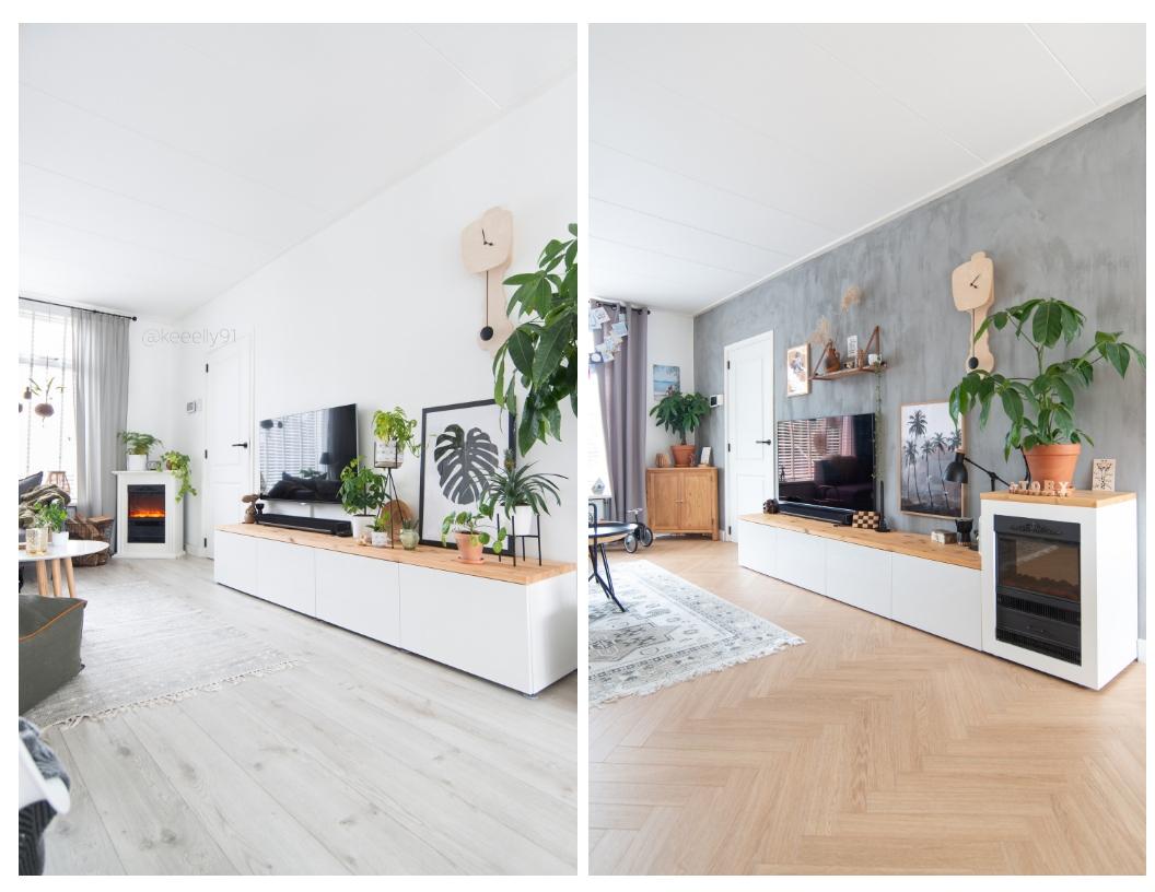 keeelly91 woonkamer tvhoek pure and original kalkverf grijs muurverf Scandinavisch interieur inspiratie