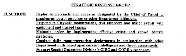 NYPD Strategic Response Group FOIL