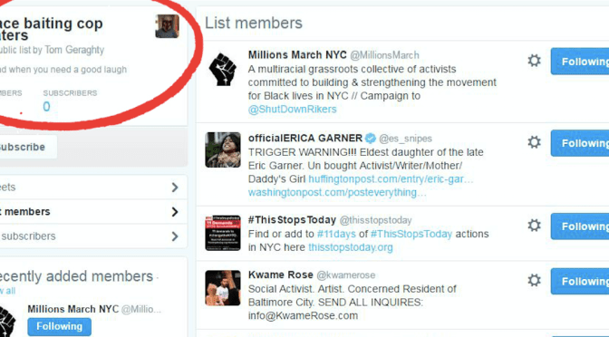 "NYPD Cop Maintains ""Race Baiting Cop Haters"" List of Activists"