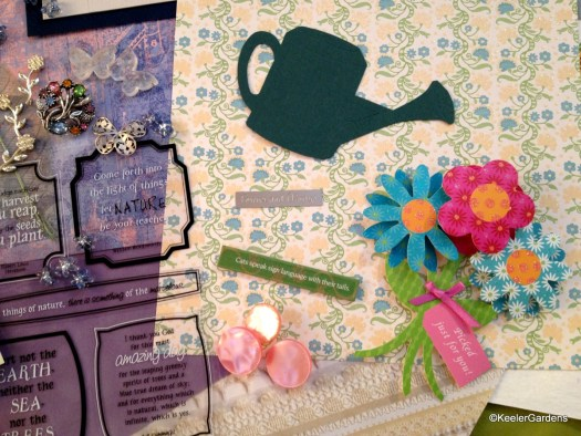 "Scrapbooking accessories and accoutrements including small and large quotes such as ""Cats speak language with their tails."" ""Come forth into the light of things let NATURE be your teacher."" The background has various textured papers from watercolor to repeating prints. There are also small trinkets such as butterflies, flowers, and stars."