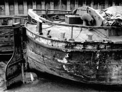 AMY HOWSON in early1976 - after a hard life and long lay-up restoration of this Sloop was going to be a major undertaking
