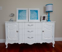 Painted Cabinet with Painted Silver Drawer Pulls