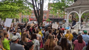 Massive crowd watching speakers at BLM event in Keene