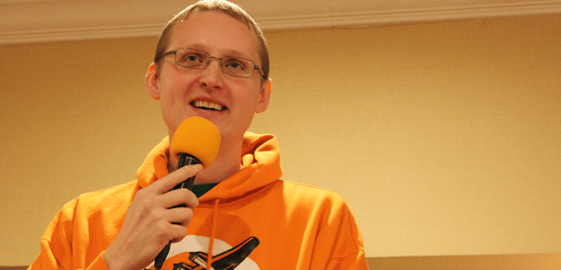 "James ""Robin Hood"" Cleaveland delivers a moving keynote at Keenevention 2014."