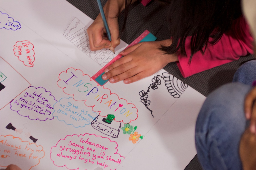 girls drawing on poster