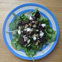 Orange-roasted beetroot salad with goat's cheese & dill