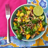 Mango and avocado salad with lime tahini dressing