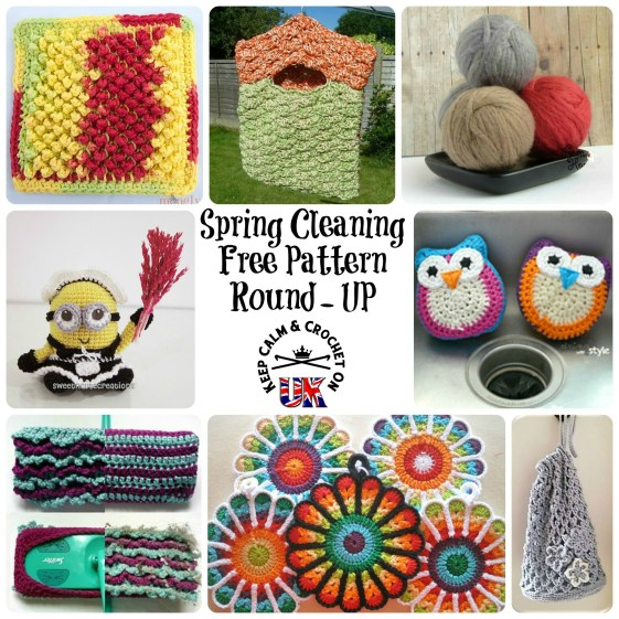 http://keepcalmandcrochetonuk.com/2014/03/20/8-ways-to-make-chores-more-fun-free-pattern-round-up/