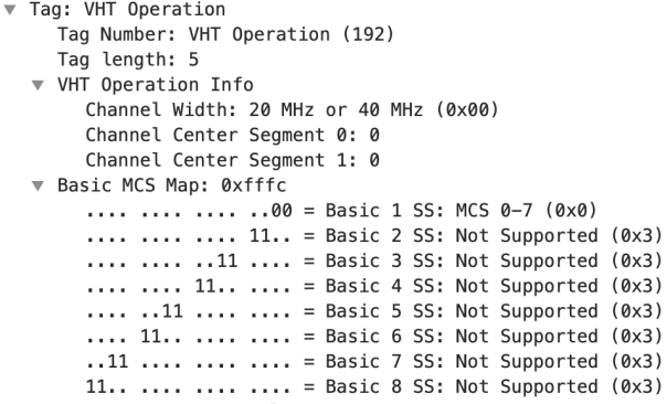 v Tag: VHT Operation  Tag Number: VHT Operation (192)  00 = Basic  ll.. = Basic  11 = Basic  = Basic  = Basic  = Basic  = Basic  = Basic  Tag length: 5  v VHT Operation Info  Channel Width: 20 MHz or 40  Channel Center Segment 0:  Channel Center Segment 1:  Basic MCS Map: Oxfffc  . ll..  .. 11  . ll..  .. 11  ll..  MHz  1  2  3  4  5  6  7  8  SS:  SS:  SS:  SS:  SS:  SS:  SS:  MCS  Not  Not  Not  Not  Not  Not  Not  0-7 (OXO)  Suppo r ted  Suppo r ted  Suppo r ted  Suppo r ted  Suppo r ted  Suppo r ted  Suppo r ted