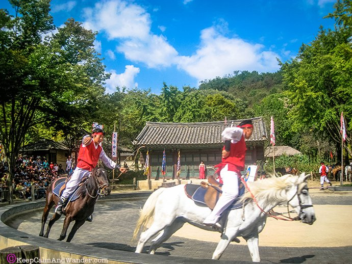 Equestrians Show at Korean Folk Village in Suwon, Seoul, South Korea.