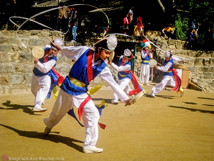 Traditional Korean Dance and Music at Korean Folk Village in Suwon, Seoul, South Korea.