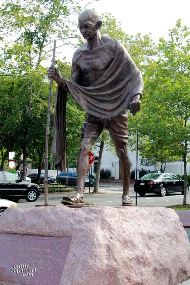 The Statue of Mahatma Gandhi around Dupont Circle Area and Kalorama in Washington, DC.