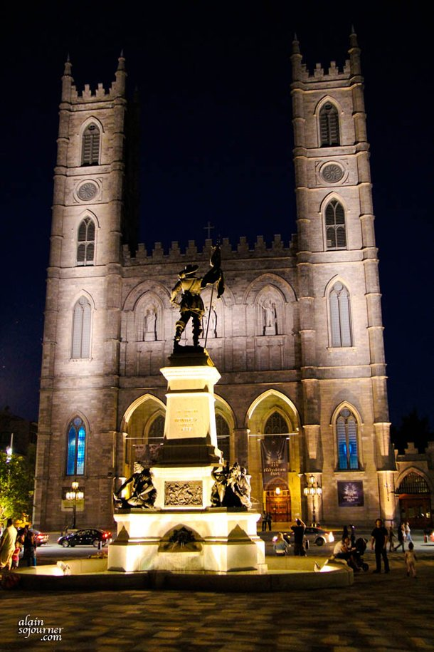 Notre Dame Basilica at Night in Montreal.