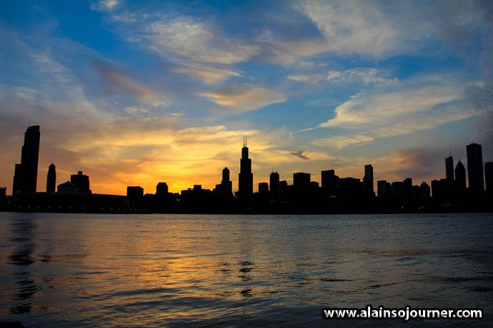 Chicago Skyline at Night Sunset 1