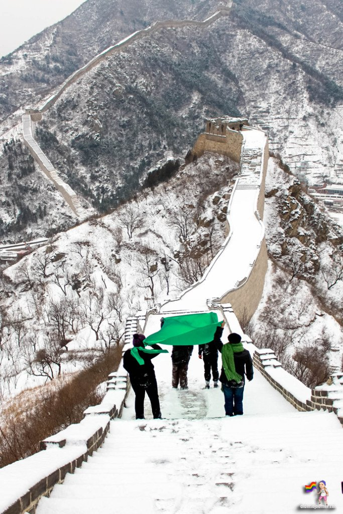 Huanghuacheng Great Wall of China in snow.