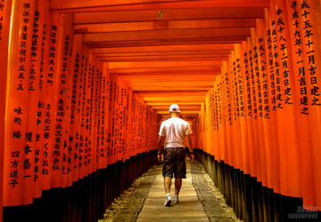 The winding path of Fushimi Inari Taisha in Kyoto, Japan.