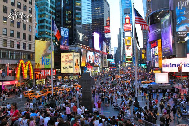 Life is bustling in New York Times Square.