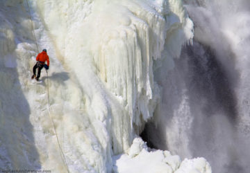 Montmorency Falls is frozen in Quebec City.