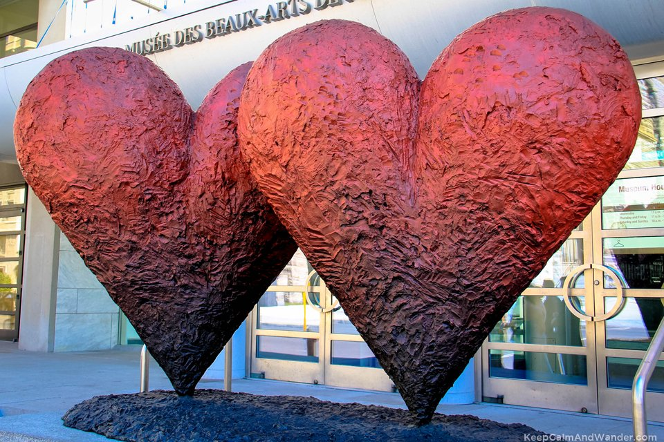 Heart-shaped statue outside the Museum of Fine Arts in Montreal, Canada.