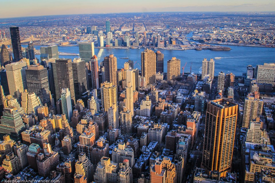 East view of New York Skyline from the Empire State Building.