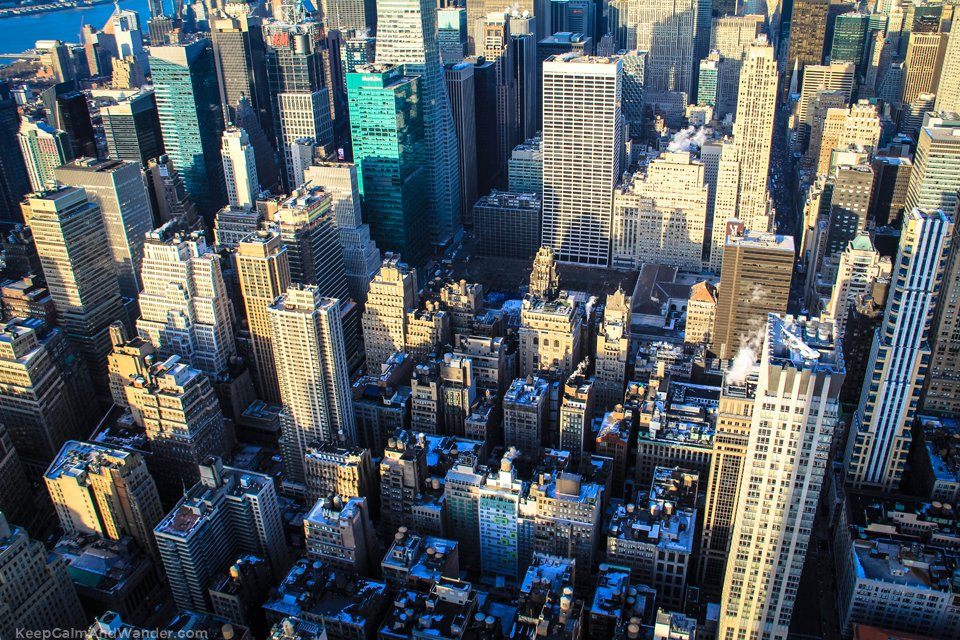 This is New York skyline (North view) from the Empire State Building.