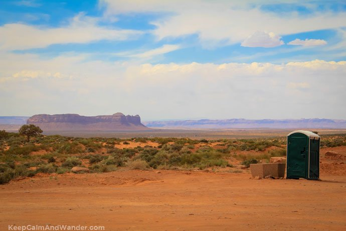 Bathroom with a view at Monument Valley.