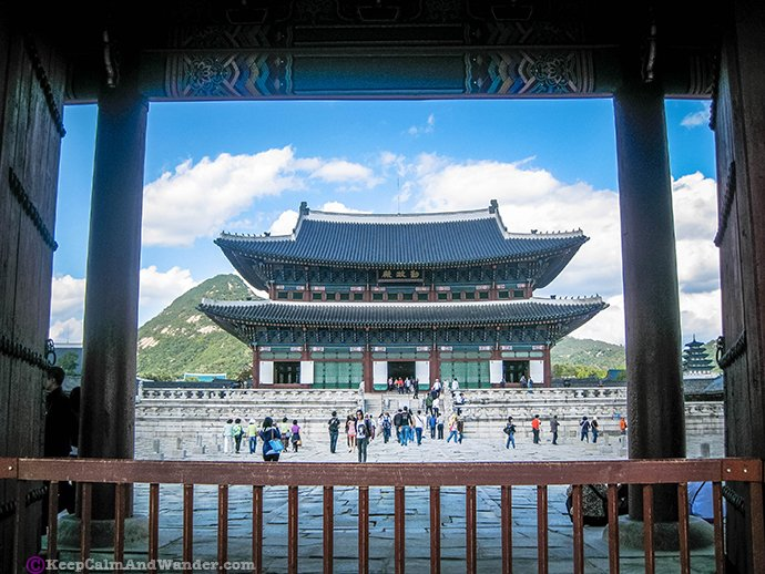 Gyeongbokgung Imperial Palace in Seoul is the first imperial palace of South Korea.