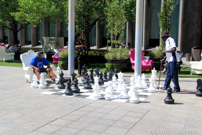 Playing chess in downtown Detroit.