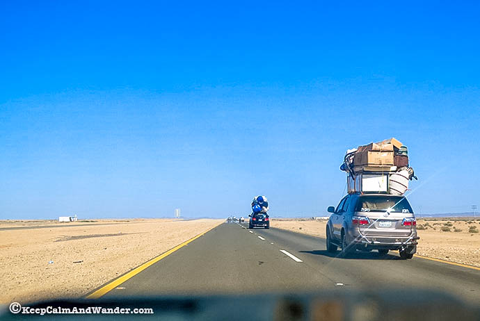 Saudi This family car is turned into a cargo car / transport.