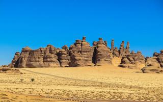 Athleb Mountains at Madain Saleh in Saudi Arabia.