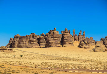 Athleb Mountains at Madain Saleh in Saudi Arabia.
