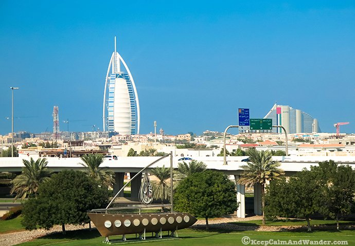 View of Burj Al-Arab Dubai from the Metro.