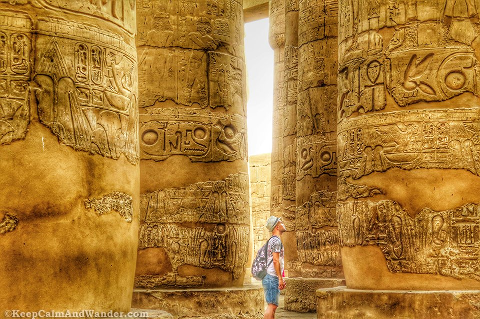 The Hypostyle Hall at Temple Karnak in Luxor, Egypt.