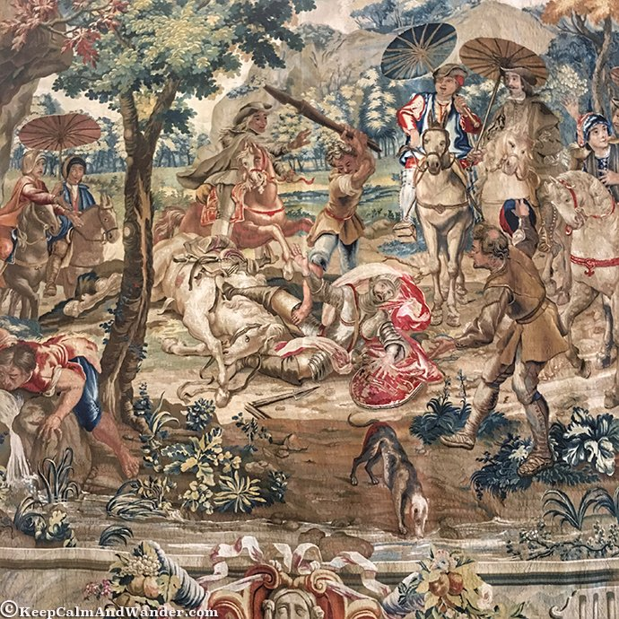 Don Quixote Tapestry at the Royal Palace (Palacio Real), Madrid, Spain.