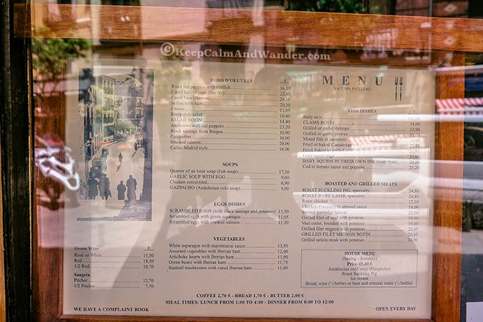 Menu Botin Restaurant in Madrid is the Oldest in the World.