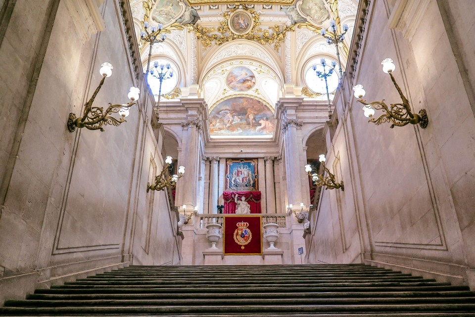 The Grand Staircase inside the Royal Palace (Palacio Real) of Madrid (Spain).